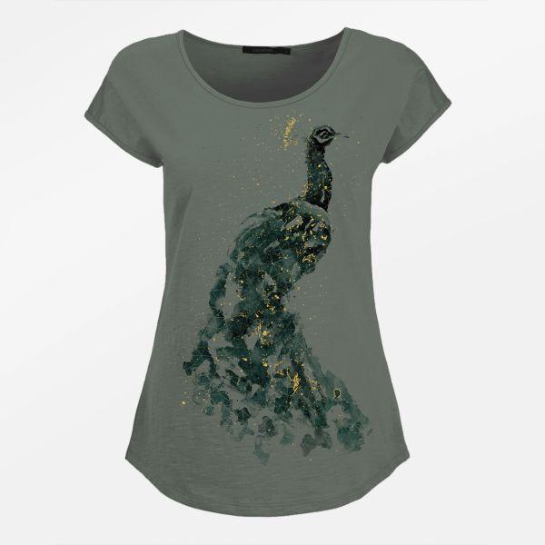 GREENBOMB- ANIMAL PEAFOWL Shirt olive