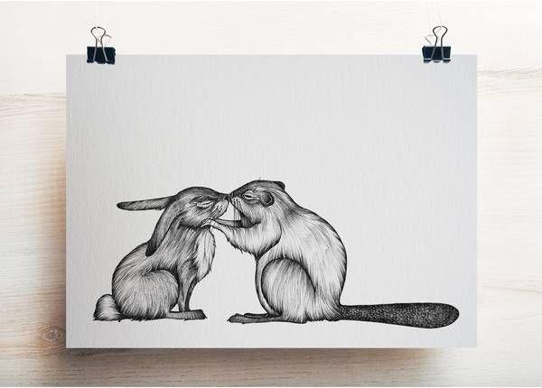 LIGARTI - KANINCHEN & BIBER Postkarte Bambuspapier
