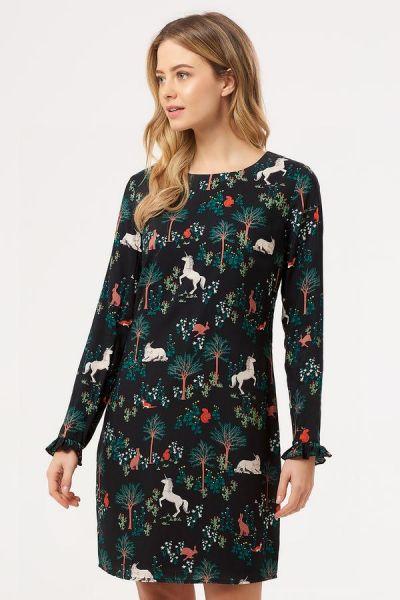 SUGARHILL BRIGHTON - BRIANNA MAGIC FOREST FRILL TUNIC DRESS Kleid black/multi