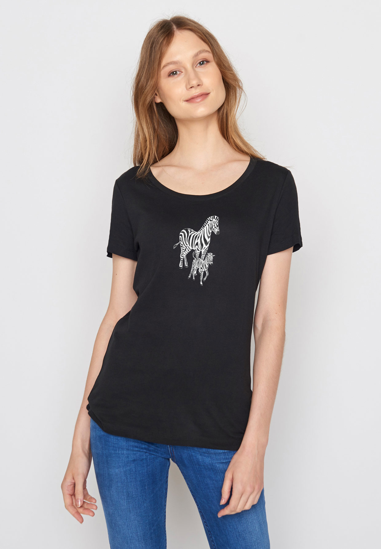GREENBOMB-ANIMAL-ZEBRAS-Shirt-black