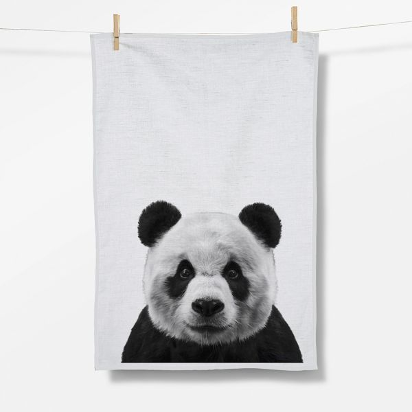 ANIMAL PANDA Tea Towel/ Geschirrtuch white Organic cotton