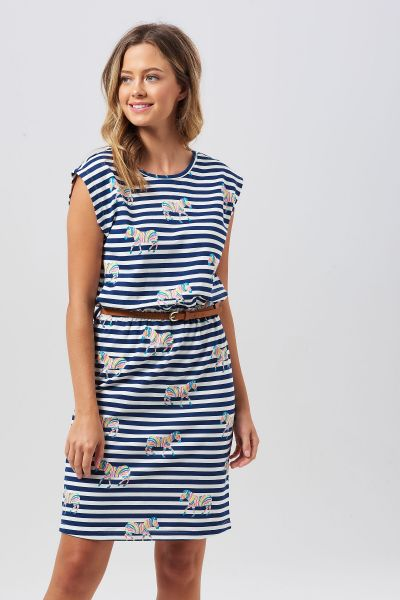 SUGARHILL BRIGHTON - HETTY RAINBOW ZEBRA Dress off white/navy