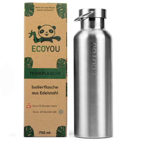 ECOYOU - EDELSTAHL TRINKFLASCHE 750 ml - silber - Isolierflasche