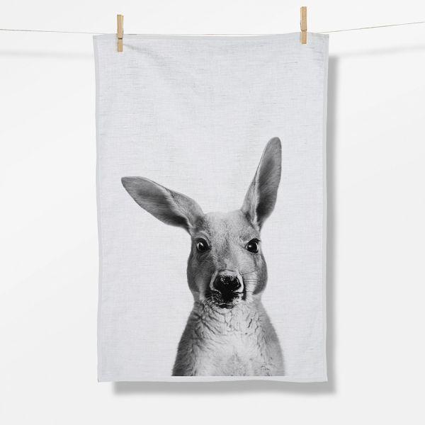 ANIMAL KANGAROO Tea Towel/ Geschirrtuch white Organic cotton