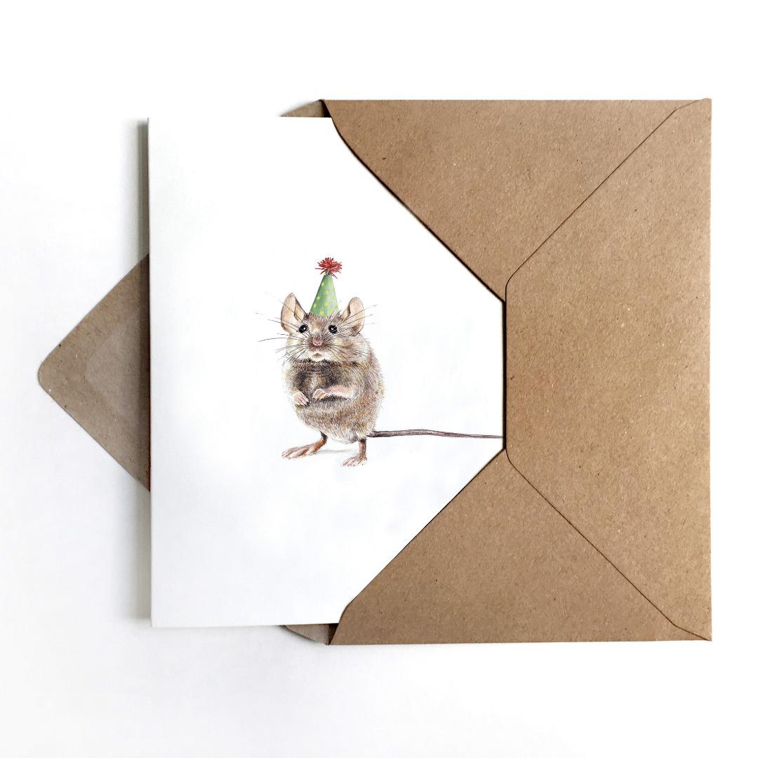 JANINE-SOMMER-PARTYMAUS-Grusskarte-Geburtstagskarte-Poster-Kunstdruck-A6