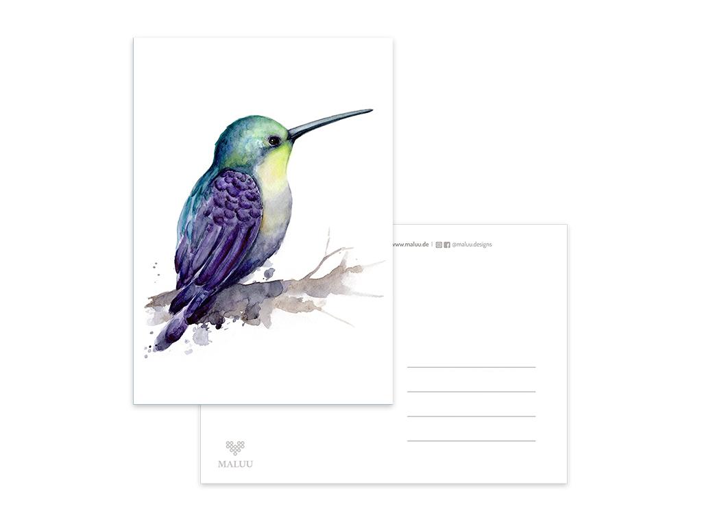 MALUU-RAINBOW-KOLIBRI-Postkarte-Kolibri-A6