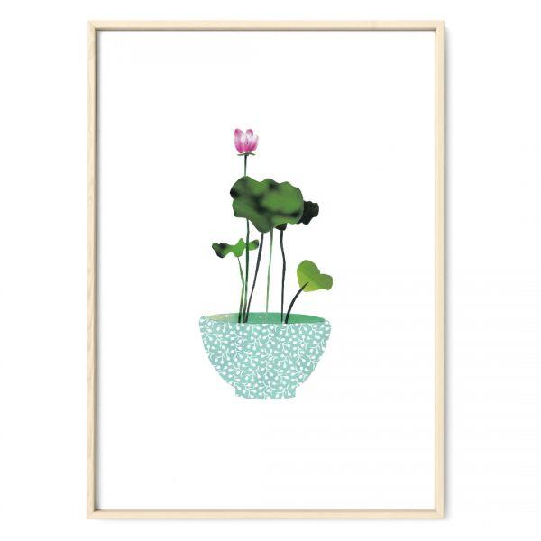 JANINE SOMMER -Collage Lotus Kunstdruck Lotuspflanze Pflanzenposter