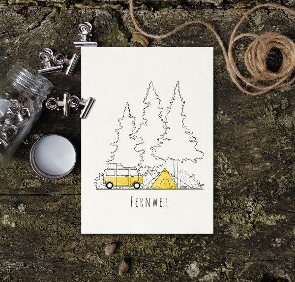 LAGOM - FERNWEH Postkarte A6 hoch - FUCHS & IGEL Postkarte Bambuspapier A6