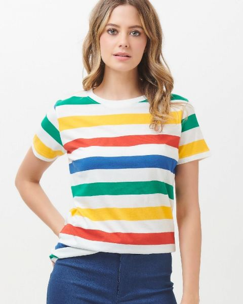 SUGARHILL BRIGHTON - MAGGIE BOLD RAINBOW SHIRT Stripe multi