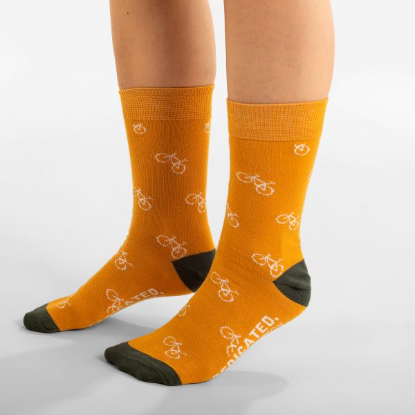 DEDICATED - SIGTUNA SOCKS BIKE PATTERN Socken golden yellow