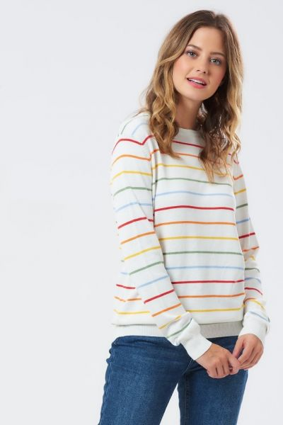 SUGARHILL BRIGHTON -RITA SKINNY STRIPE RAINBOW Sweater off-white