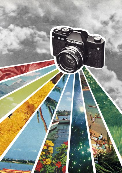 JANINE SOMMER - ANALOG Collage Poster Kunstdruck A4