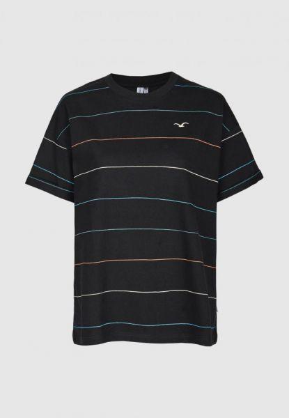 CLEPTOMANICX - SPECIAL TEE MULTI STRIPE Shirt black