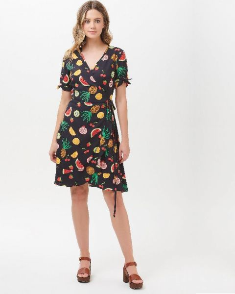 SUGARHILL BRIGHTON - JESSICA FRUIT PUNCH FRILL WRAP DRESS Kleid black/multi