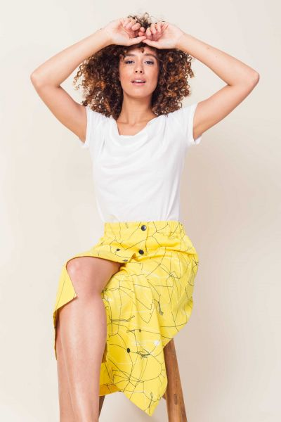 SKFK - XIMENA SKIRT Rock Y5 outline print yellow