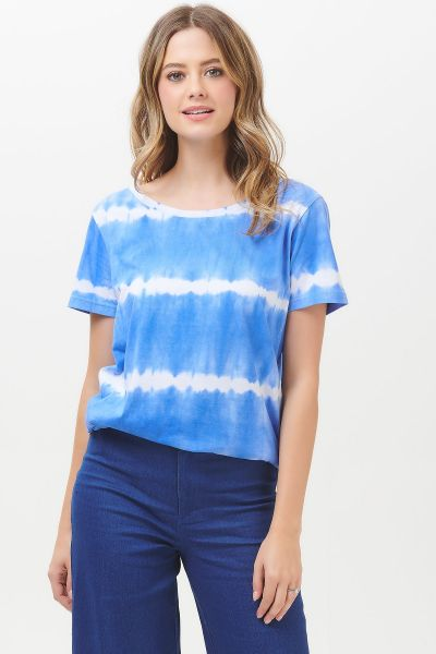SUGARHILL BRIGHTON - SYLVIE TIE DYE MARINE STRIPE SCOOP TEE Shirt blue/white