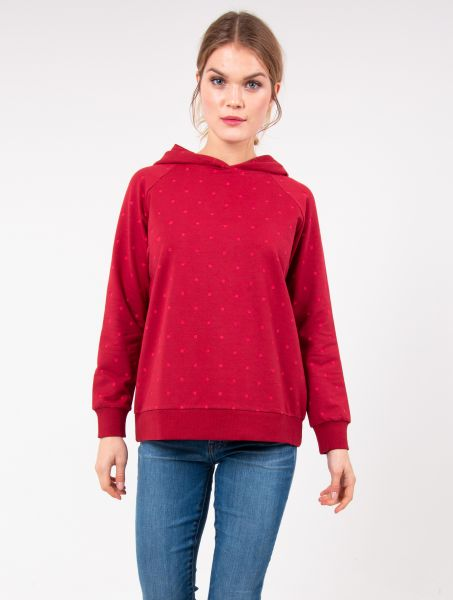 DANEFAE- ORGANIC OLINE Hoodie dark red love pink fun dots