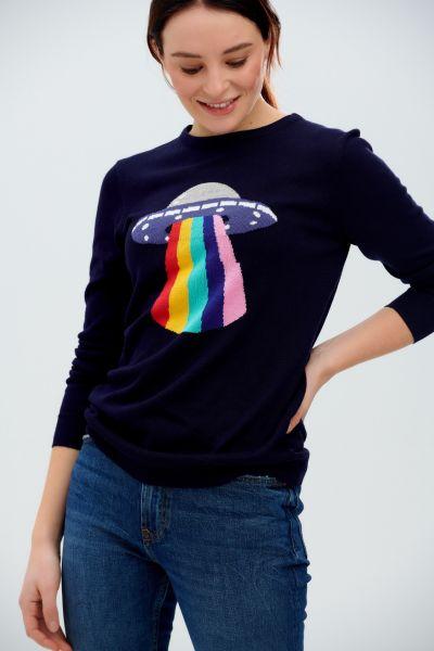 SUGARHILL BRIGHTON - RITA JUMPER SWEATER Pullover navy ufo rainbow beam