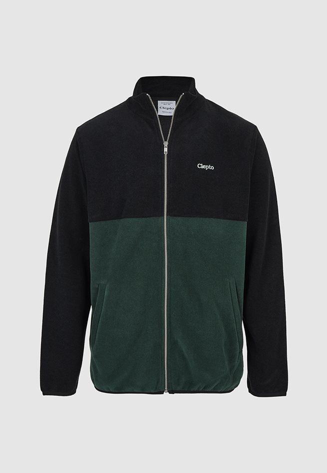CLEPTOMANCX-TRAINER-SOFTER-ZIP-Fleecejacke-black-scarab-green