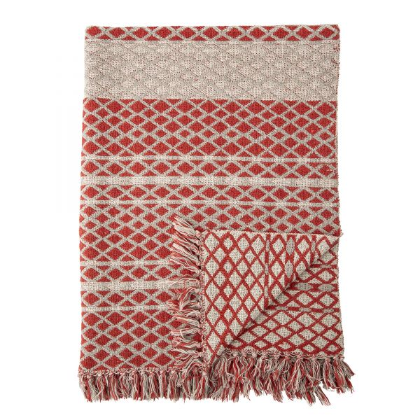 BLOOMINGVILLE - VERONA THROW Recycled Cotton red