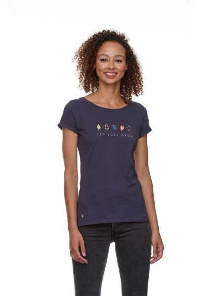 RAGWEAR - FLORAH PRINT ORGANIC T-Shirt dark grey