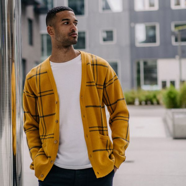 DEDICATED - MOLKOM BIG CHECK Cardigan golden yellow
