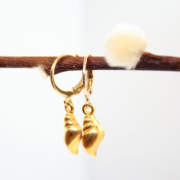 DOPPELLOTTE - SEASHELL CREOLE Ohrschmuck gold