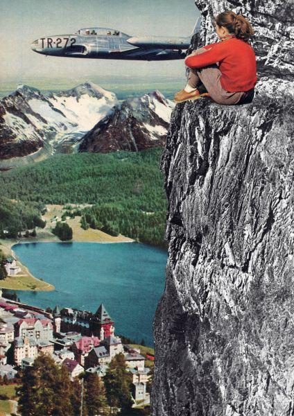 JANINE SOMMER -AUSSICHT Collage Poster Kunstdruck A4