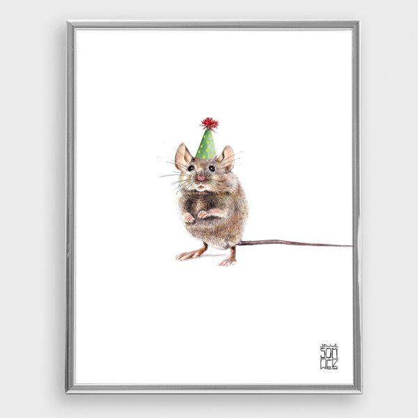 JANINE SOMMER - PARTYMAUS Zeichnung, Poster, Kunstdruck A4