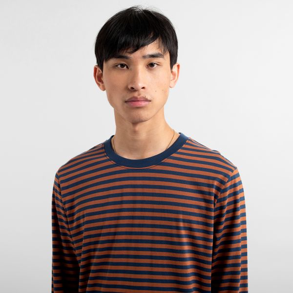 DEDICATED - HASLE STRIPES Longsleeve T-Shirt nocha brown