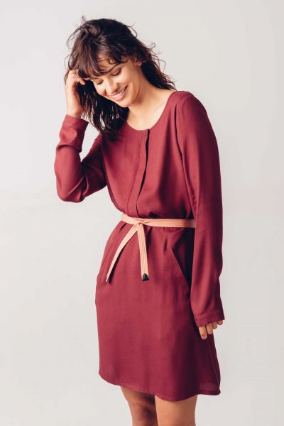 SKFK - BERA DRESS Kleid 68 burgundy