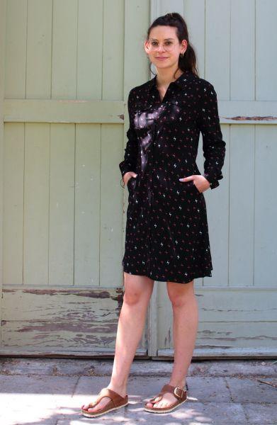 SUGARHILL BRIGHTON - BLITZI SHORT SHIRT DRESS Kleid black/ rust